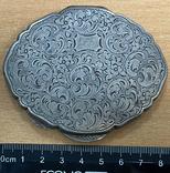 Серебряная пудреница 800 пробы с узором, фото №7