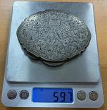 Серебряная пудреница 800 пробы с узором, фото №8