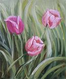 Картина, Тюльпаны, 25х30 см. Живопись на холсте, фото №3
