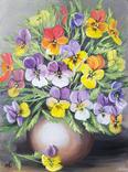 Картина, Фиалки в вазе, 30х40 см. Живопись на холсте, фото №2