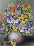 Картина, Фиалки в вазе, 30х40 см. Живопись на холсте, фото №3