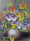 Картина, Фиалки в вазе, 30х40 см. Живопись на холсте, фото №5
