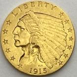 2,5 доллара. 1915. США (золото 900, вес 4,16 г), фото №2