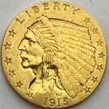 2,5 доллара. 1915. США (золото 900, вес 4,16 г), фото №4