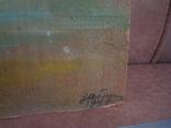 Картина масло пейзаж картон подпись художника 1975г., фото №13