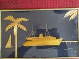 Картина рисовая соломка. Теплоход., фото №2