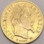 10 франков. 1866. Наполеон III (в венке). Франция (золото 900, вес 3,20 г), фото №2