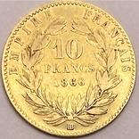 10 франков. 1866. Наполеон III (в венке). Франция (золото 900, вес 3,20 г), фото №3