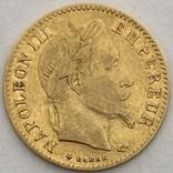 10 франков. 1866. Наполеон III (в венке). Франция (золото 900, вес 3,20 г), фото №12
