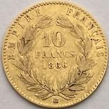 10 франков. 1866. Наполеон III (в венке). Франция (золото 900, вес 3,20 г), фото №13