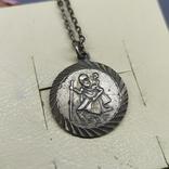 Медальон на цепочке. Диаметр 20мм. Серебро, фото №3