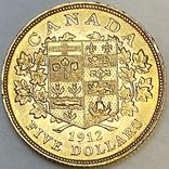 5 долларов. 1912. Георг V. Канада (золото 900, вес 8,37 г), фото №4