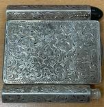 Серебряная пудреница с тубусом под помаду, фото №3
