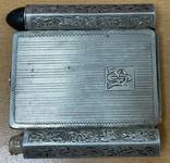 Серебряная пудреница с тубусом под помаду, фото №4