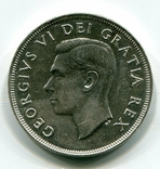Канада 1 доллар 1949 г. Серебро СОХРАН. Корабль. Георг VI. Ньюфаундленд., фото №3