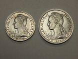 1 и 2 франка, 1948 г Реуньон, фото №3