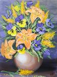 Картина, Букет в вазе, 30х40 см. Живопись на холсте, фото №4