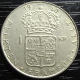 1 крона Швеція 1960 срібло, фото №2