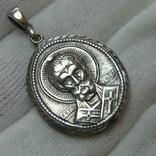 Новый Серебряный Кулон Подвеска Святой Николай Чудотворец Никола Серебро 925 проба 428 фото 1