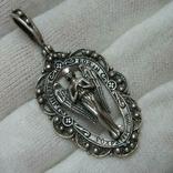 Серебряный Кулон Подвеска Святой Ангел Хранитель Скань Зернь Крылья Серебро 925 проба 283 фото 1