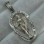 Серебряный Кулон Подвеска Святой Ангел Хранитель Крылья Серебро 925 проба 529