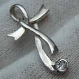 Серебряный Кулон Подвеска Лента Бант Крест Крестик Стилизация Камень 925 проба Серебро 549, фото №2