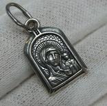 Серебряный Кулон Подвеска Образок Богородица Казанская Иисус Христос Серебро 925 проба 551