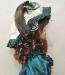 Винтажная фарфоровая кукла на подставке 41 см, фото №8
