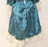 Винтажная фарфоровая кукла на подставке 41 см, фото №11