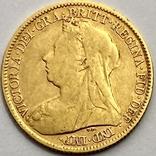1/2 фунта (1/2 соверена). 1896. Виктория. Великобритания (золото 917, вес 3,92 г), фото №2
