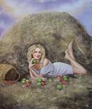 Картина, Дівчина з яблуком, 50х60 см. Живопис на полотні, фото №3