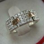 Серебряное Кольцо Размер 16.75 Камни Белые 925 проба Серебро 375 Золото 927