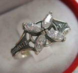 Серебряное Кольцо Размер 21.25 Крест Белые Камни Молитва 925 проба Серебро 504