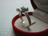 Серебряное Кольцо Размер 21.25 Крест Белые Камни Молитва 925 проба Серебро 504, фото №4