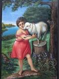 ''Агнец - девушка ''. х.м. 60х40 см. Н.Х. Копия., фото №4