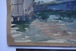 Порт Корабли Акварель с подписью 1975, 55,5 на 39 см., фото №4
