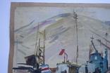 Порт Корабли Акварель с подписью 1975, 55,5 на 39 см., фото №5