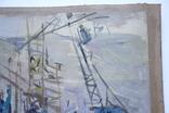 Порт Корабли Акварель с подписью 1975, 55,5 на 39 см., фото №6