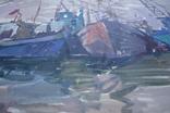Порт Корабли Акварель с подписью 1975, 55,5 на 39 см., фото №7