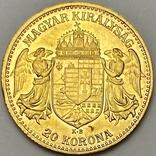 20 корон. 1912. Франц Иосиф I. Австро-Венгрия (золото 900, вес 6,80 г), фото №3