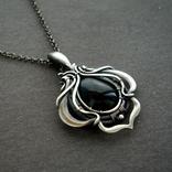 Кулон серебряный с черным ониксом, фото №3