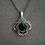Кулон серебряный с черным ониксом, фото №4