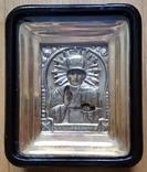 Ікона Микола Чудотворець, латунь 13,3х11,2 см, кіот, фото №2