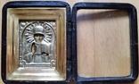 Ікона Микола Чудотворець, латунь 13,3х11,2 см, кіот, фото №3