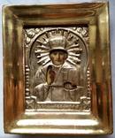 Ікона Микола Чудотворець, латунь 13,3х11,2 см, кіот, фото №4