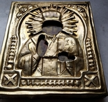 Ікона Микола Чудотворець, латунь 13,3х11,2 см, кіот, фото №9