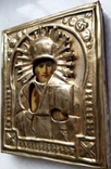 Ікона Микола Чудотворець, латунь 13,3х11,2 см, кіот, фото №10