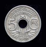 Франция 5 сантим 1920, фото №2