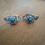 Сережки срібні 4,7 г з бірюзою, фото №4