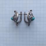 Сережки срібні 4,7 г з бірюзою, фото №5